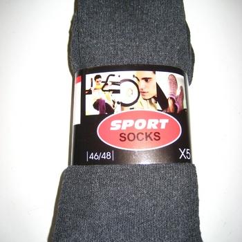chaussettes de sport ou de travail grises avec du coton - 43/46 & 46/48 - 5 pour 3 €