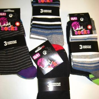chaussettes lignées colorées 36/41 avec 80% coton - 3 pour 2.70€