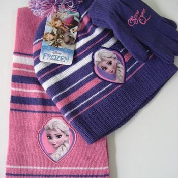 bonnet + écharpe + gants pour fille - reine des neiges