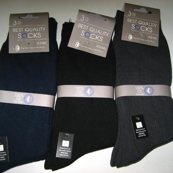 chaussettes 100% coton pour homme : 3 pour 3.40€
