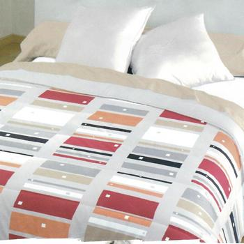 drap plat + drap housse + 1 taie en tergal (polyester-coton) royal rectangle rouge