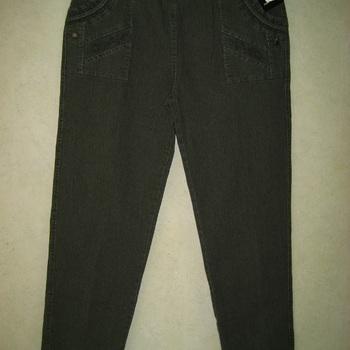jeans kaki taille élastique avec poches brodées pour dame - jusque taille 8