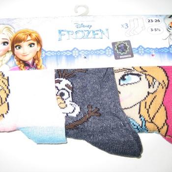 3 chaussettes reine des neiges 23/26 & 27/30 pour filles - 3 paires pour 2.40€