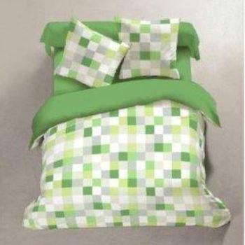 drap plat + drap housse + 2 taies en coton pour lit de 2 personnes - carreaux verts