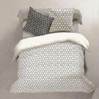 drap plat + drap housse + 2 taies en coton pour lit de 2 personnes - triangle blanc