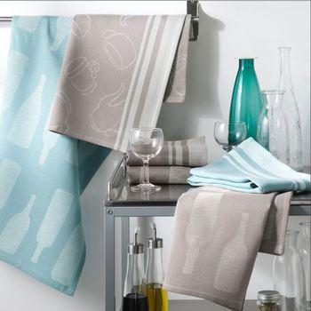 essuie de vaisselle avec motif dans tissu 50*70cm en 100% coton : 4 pour 7.50€