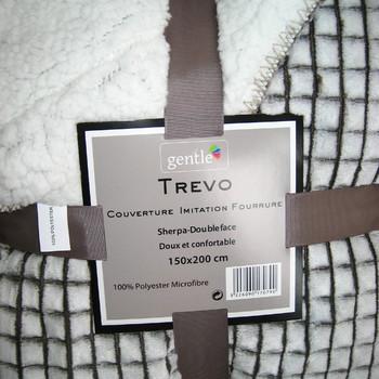 plaid MAXI 1.50*2m côté polaire tout doux - côté mouton - petits carreaux gris ou marron