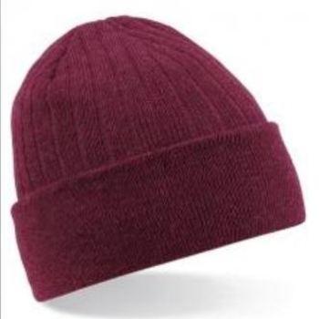 bonnet tricot thinsulate (polaire à l'intérieur) cotelé - bordeau