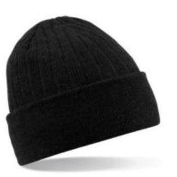 bonnet tricot thinsulate (polaire à l'intérieur) cotelé noir