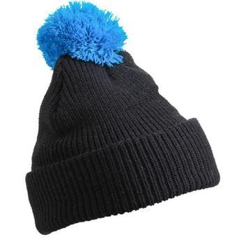 bonnet avec pompon noir bleu