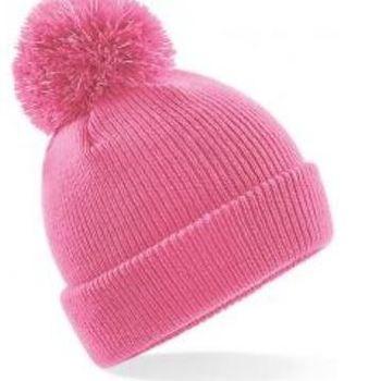 bonnet pompon réflective pour enfant - cb406b - rose