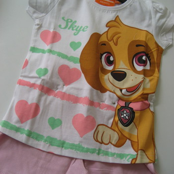 t-shirt pat patrouille + short pour fille de 4 à 9 ans - 2 coloris