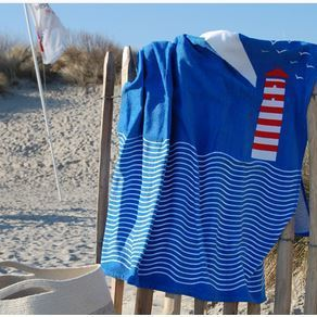 essuie de plage velours 100% coton - 90x170 cm - phare