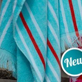 essuie de plage velours rasé épaisse avec franges - turquoise