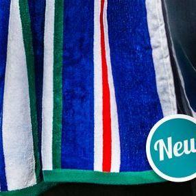 essuie de plage velours rasé épaisse - bleu rayé - extra grand