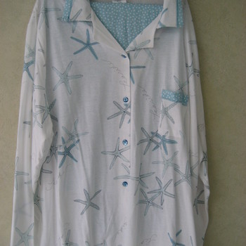 pyjama catini jersey, col polo, 4XL ! - étoiles de mer turquoise