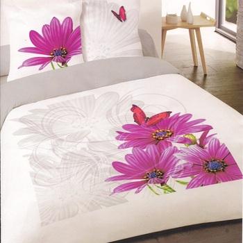 housse de couette extra grande 2.6*2.4m + 2 taies en 100% coton pour lit de 2 personnes - fleurs fuschia papillon