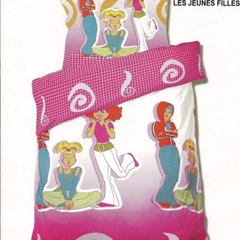 housse de couette 1.4*2m + 1 taie en coton pour lit d'1 personne - les jeunes filles