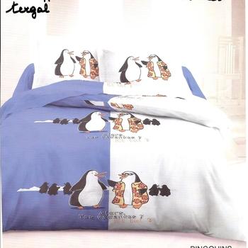 housse de couette 2*2m + 2 taies en polyester/coton (tergal) - pingouin