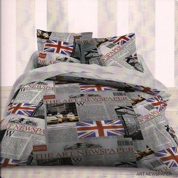 drap plat + drap housse + 1 taie en 100% polyester : journaux anglais