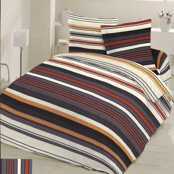 drap plat + drap housse + 1 taie en flanelle : rayé orange, king