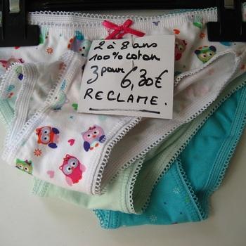 3 culottes coton hibou pour les filles de 2 à 8 ans