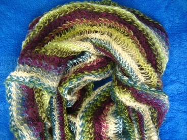 écharpe tricot multicolore pour dame
