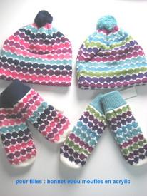 bonnet ou moufles tricot doublé polaire multicolore pour enfant