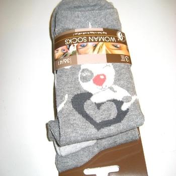 chaussettes pour dame avec du coton - love - 3 pour 3.60€