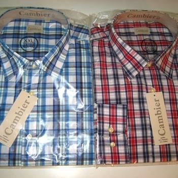 chemise longues manches M à 3XL, bleu ou rouge EN PROMO
