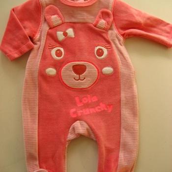 pyjama velours rasé rose eskiss happy face 0 à 12 mois
