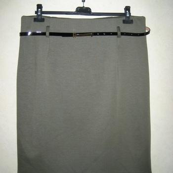 jupe droite strech avec ceinture : noir