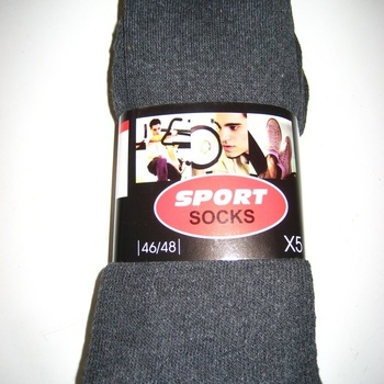 chaussettes de sport ou de travail grises avec du coton - 43/46 - 46/48 - 5 pour 3 €