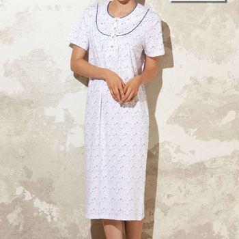 robe de nuit courtes manches en coton pour dame - abril - reste S - M