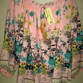 blouse fleurée froncée avec cordon avec plumes pour dame EN PROMO