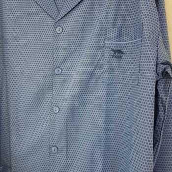 pyjama boutonné tergal (polyester-coton) pour homme - petits carreaux bleu - reste S