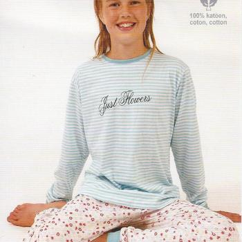 pyjama coton jersey turquoise fleuré-ligné pour les filles  8-12-16 ans en PROMO