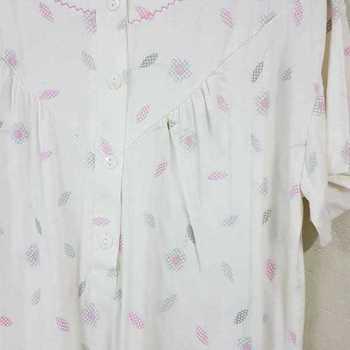 robe de nuit courtes manches pour dame classique fleurs écru S
