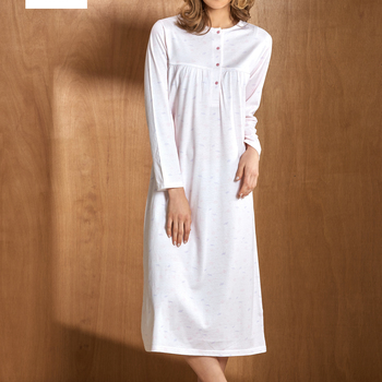 robe de nuit coton jersey pour dame - allesandra - grandes tailles - rose pale XL - XXL - XXXL