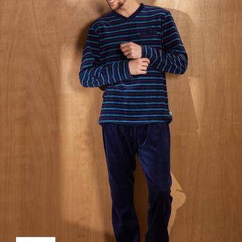 pyjama velours rasé pour homme avec col V pour homme jusque 4XL