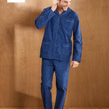 pyjama boutonné flanelle pour homme - hugo - bleu - reste S