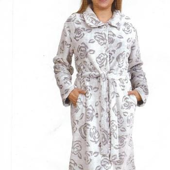 peignoir boutonné fluffy doux & chaud pour dame - fleurs - gris ou ciel - reste S