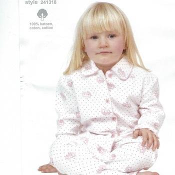 pyjama boutonné flanelle pour filles - hiboux - reste 2 ans