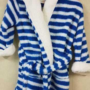 peignoir doux & chaud avec cape pour enfant - ligné bleu - reste 2/4 ans