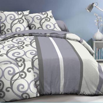housse de couette + 1 taie pour lit d'1 personne en polaire - arabesque gris