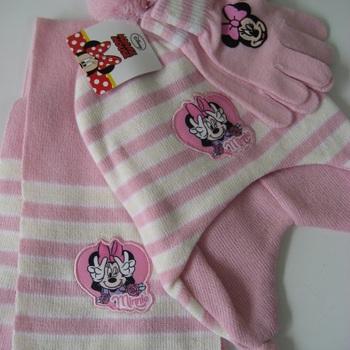 bonnet + écharpe + gants pour fille - minnie