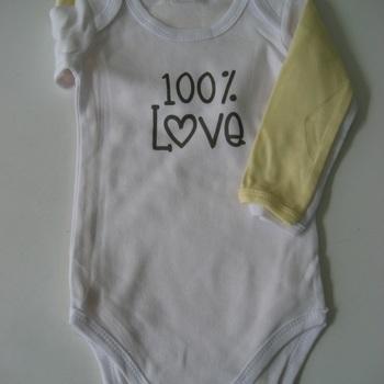 bodies longues manches en coton pour bébé : 2 pour 5.60€ - love ou adorable
