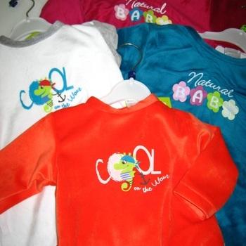 pyjama velours rasé de 3 à 24 mois orange ou blanc/gris