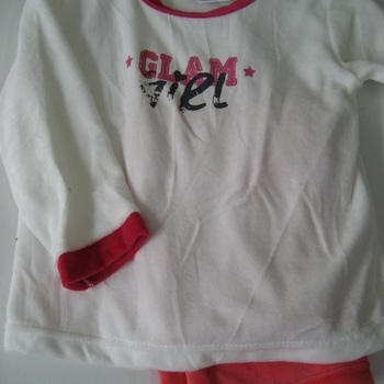 pyjama velours rasé pour fille - glam écru fuschia EN PROMO - reste 2 ans 4 ans 6 ans