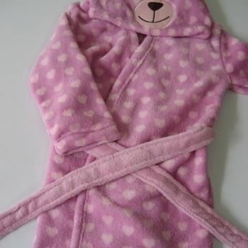 peignoir ours rose avec coeurs de 1 à 4 ans pour fille